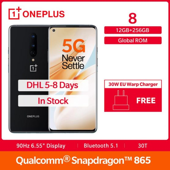 "In Stock OnePlus 8 5G Global Rom Snapdragon 865 12GB 256GB 6.55"" Fulid AMOLED Display 48MP 30W UFS 3.0 NFC Smartphone"