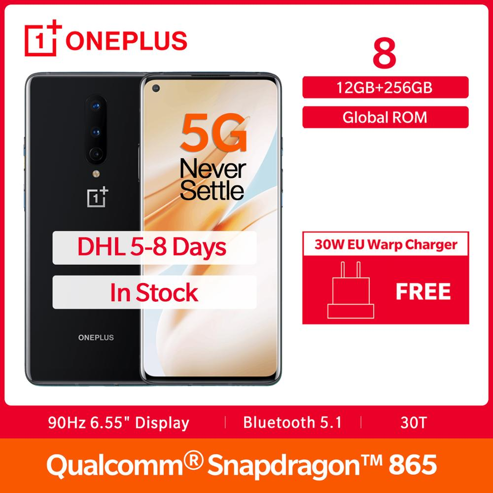 "In Stock OnePlus 8 5G Global Rom Snapdragon 865 12GB 256GB 6.55"" Fulid AMOLED Display 48MP 30W UFS 3.0 NFC Smartphone"