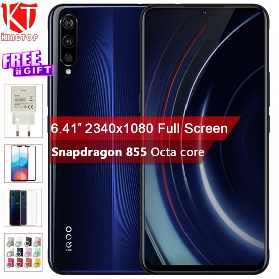 "Original vivo iQOO Mobile Phone 6GB 128GB 6.41"" Snapdragon 855 Octa Core 3Cameras 12MP+13MP+2MP Android 9 4000mAh NFC Smartphone"