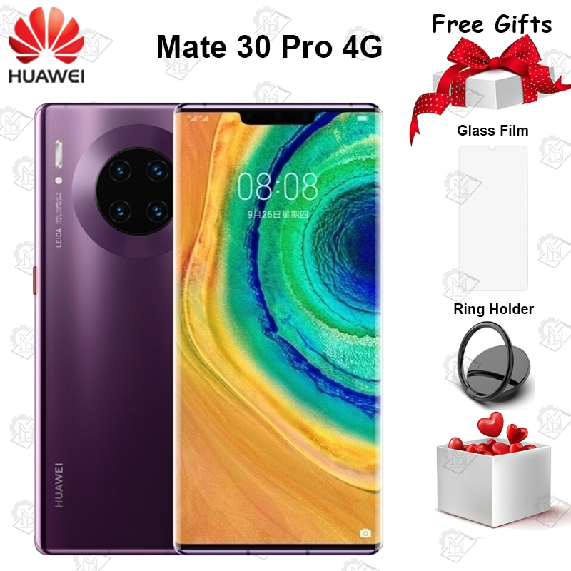 """Original Huawei Mate 30 Pro 4G Mobile Phone 6.53"""" 8G+128G Kirin 990 Android 10 Triple Cameras 40MP Front Camera 32MP Smartphone"""