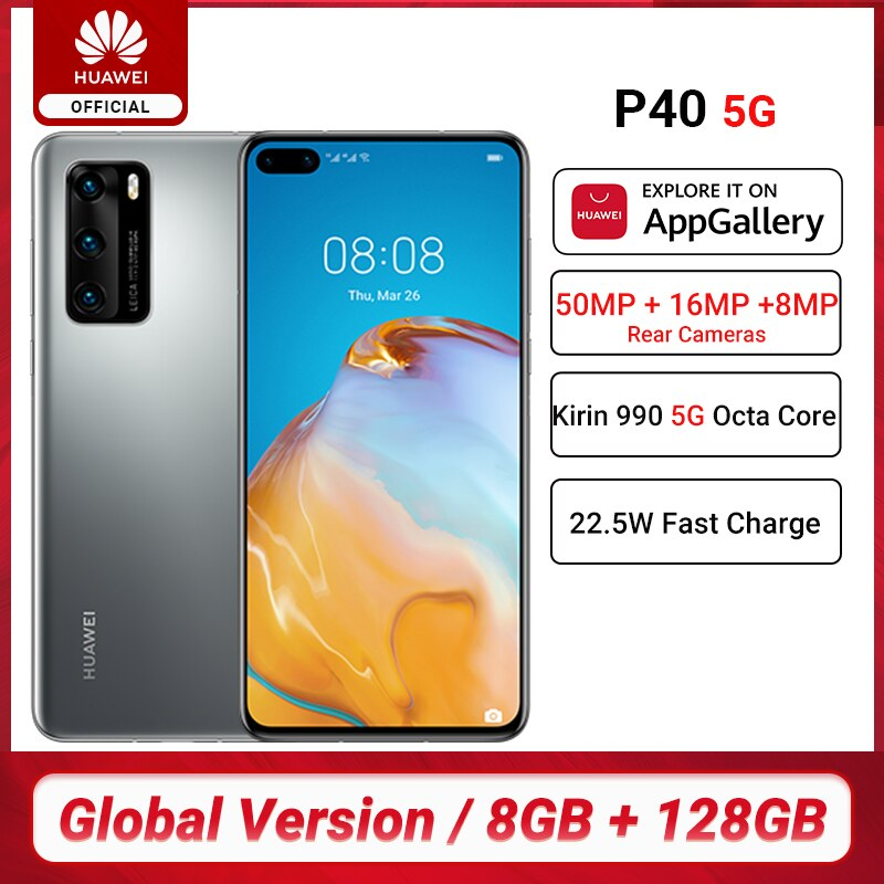 Global Version Huawei P40 5G Smartphone Kirin 990 8GB 128GB 50MP Cameras 6.1 inch Android10 22.5W SuperCharge NFC