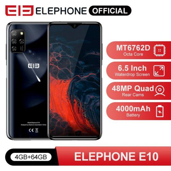 "ELEPHONE E10 4GB 64GB Smartphone Octa Core 6.5"" Screen Quad Camera 48MP Main Cam Android 10 NFC Side Fingerprint Mobile Phone"