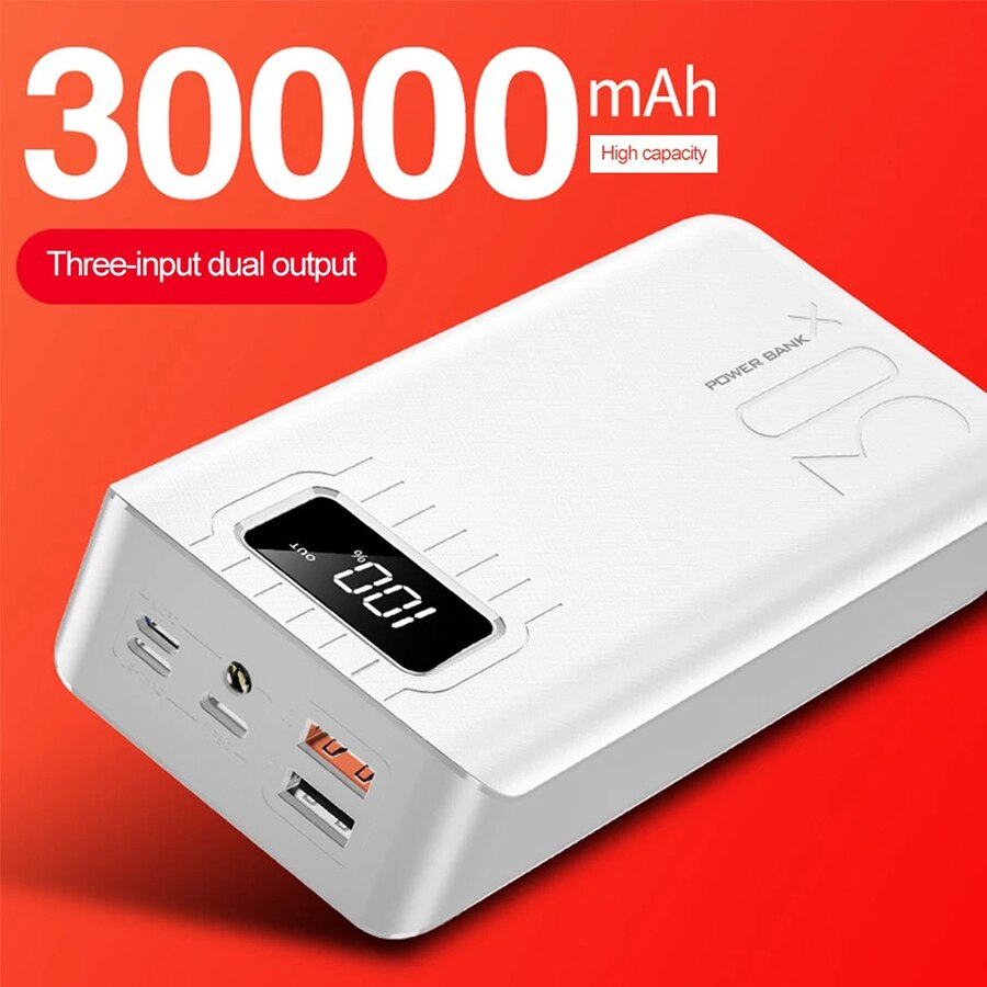 2020 Arrival Power Bank 30000mah 3 input Display External Portable Charger PoverBank Double USB for Xiaomi iphone Samsung Huawei