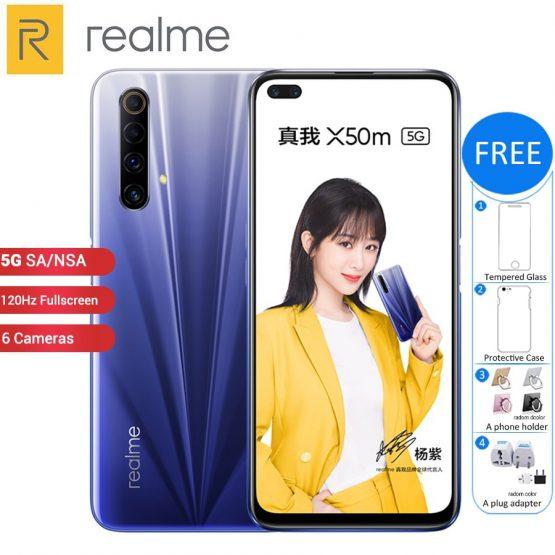 """New Original Realme X50m 5G Mobile Phone 128GB 8GB /6GB 6.57"""" Snapdragon 765G 120Hz 6 Cameras 48MP 4200mAh 30W NFC 5G Smartphone"""