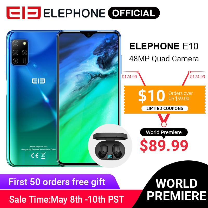 "ELEPHONE E10 Octa Core Smartphone 4GB 64GB 6.5"" Screen Quad Camera 48MP Main Cam Android 10 NFC Side Fingerprint Mobile Phone"