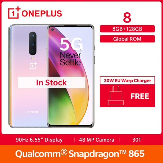 """In Stock OnePlus 8 5G Smartphone Global Rom Snapdragon 865 Octa Core 6.55"""" Fulid AMOLED Display 48MP Triple Cam 30W UFS 3.0 NFC"""
