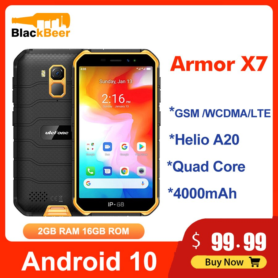 Ulefone Armor X7 5.0 Inch Mobile Phone Android10 IP68 Rugged Waterproof Smartphone 2GB 16GB CellPhone Quad Core NFC 4000mAh GPS