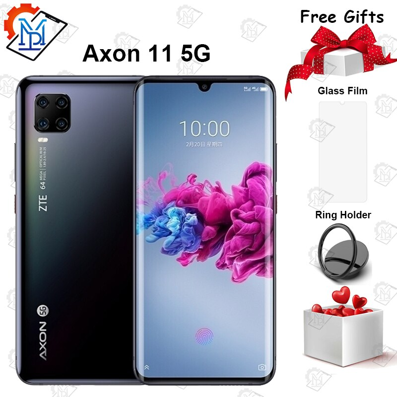 """2020 New ZTE Axon 11 5G Mobile Phone 6.47"""" AMOLED Curved Screen 6GB+128GB Snapdragon 765G Octa Core Android 10 NFC Smartphone"""