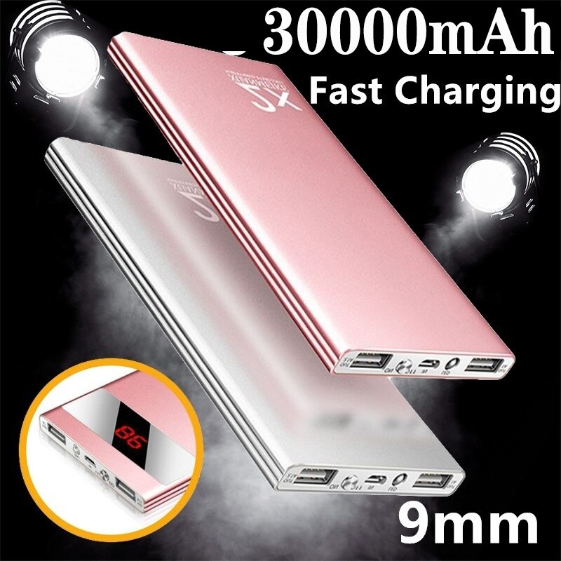 2020 Ultrathin Power Bank 30000mAh Powerbank External Battery Portable Fast Charger Waterproof Charger Bank for All Smartphone