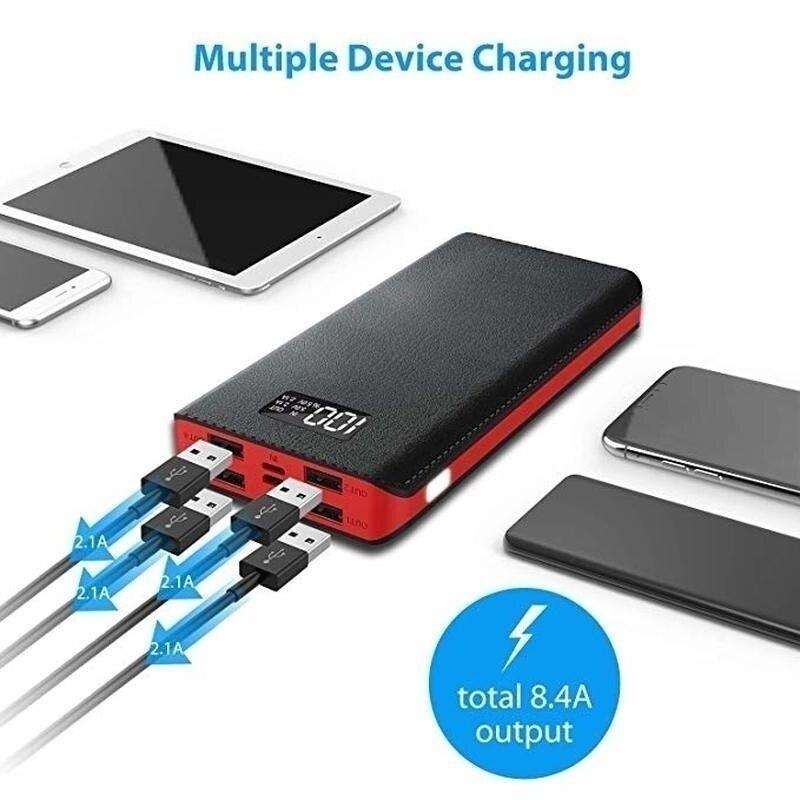 2020 HOT Portable 30000mAh Power Bank 4-USB Ports External Battery Power Bank LCD Display LED Digital Display For Smart Phone