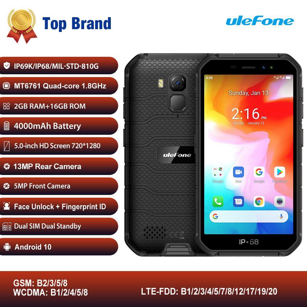 "Ulefone Armor X7 IP68/IP69K Rugged Mobile Phone 5"" Android 10 MTK6761VWE Quad Core 2GB+16GB Face ID 4000mAh 4G Smartphone NFC"