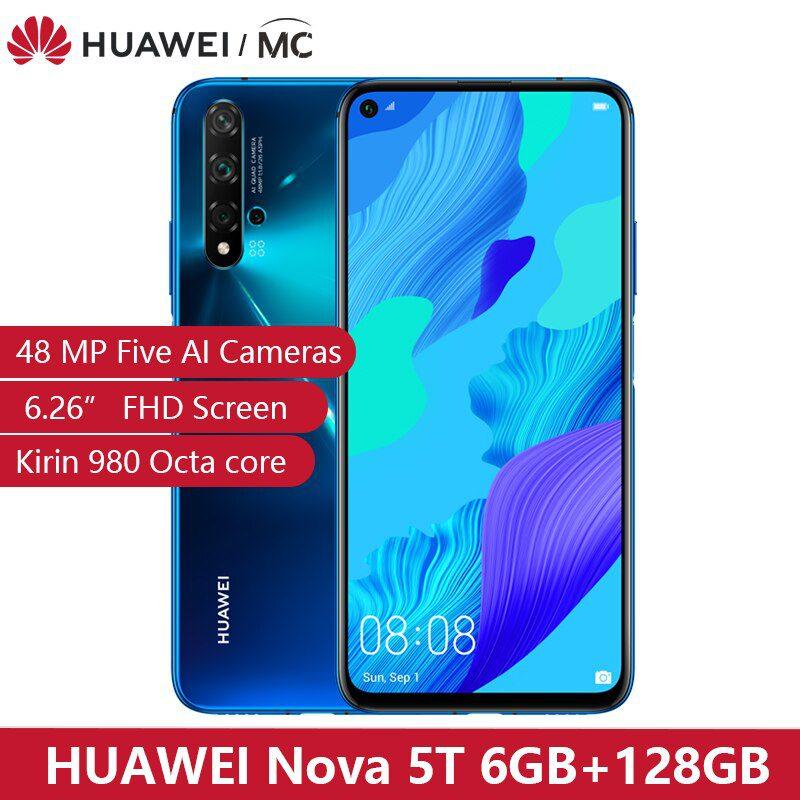 Global Version HUAWEI Nova 5T Kirin980 Octa Core Smartphone 48MP Cameras 32MP Front Camera Cellphone 6.26'' 6G/8G128G Android 9