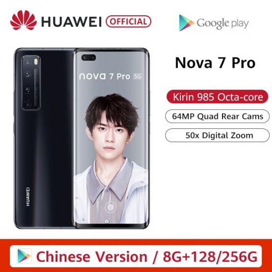 Pre Sale Huawei Nova 7 Pro 5G Smartphone Kirin 985 64MP Quad Cams 50x Digital Zoom 6.57'' OLED Curved Screen 40W SuperCharge NFC