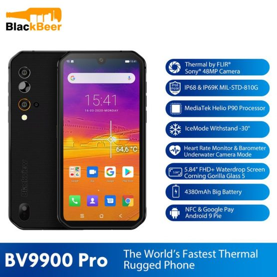 """Blackview BV9900 Pro 4G 5.84"""" Mobile Phone Helio P90 Octa Core 8GB+128GB Smartphone IP68/IP69K Rugged Cellphone Thermal Camera"""