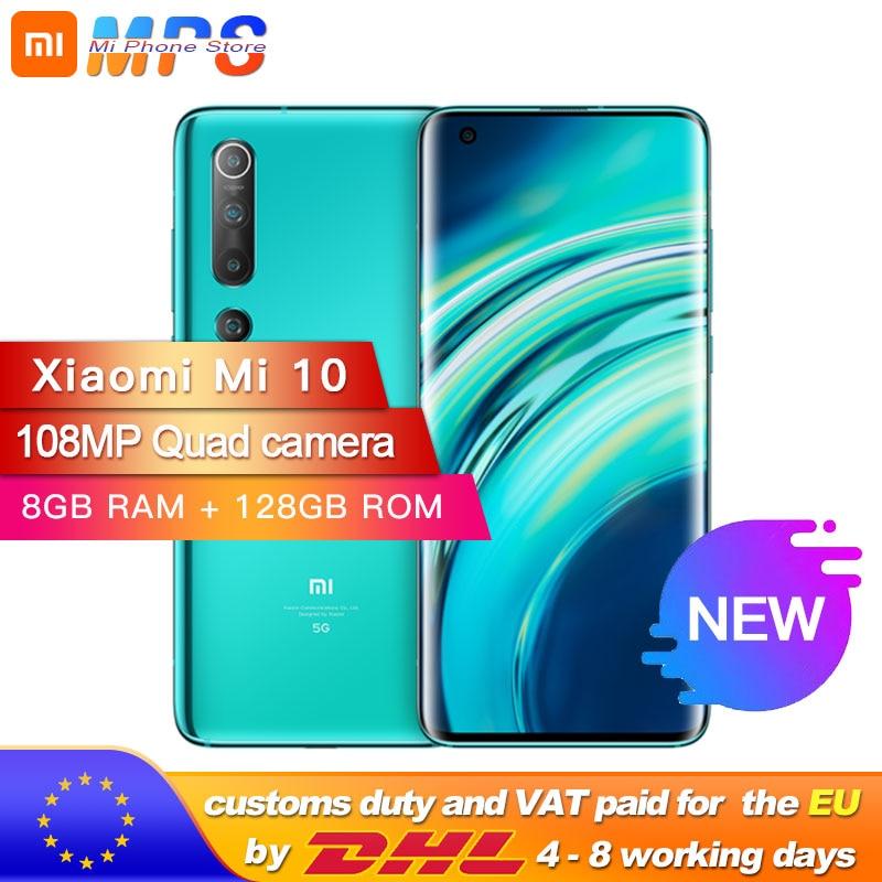 "Xiaomi Mi 10 8GB 128GB Global Version Smartphone 5G 108MP Mobile Phone Snapdragon 865 Octa Core 6.67"" AMOLED Display WIFI 6"