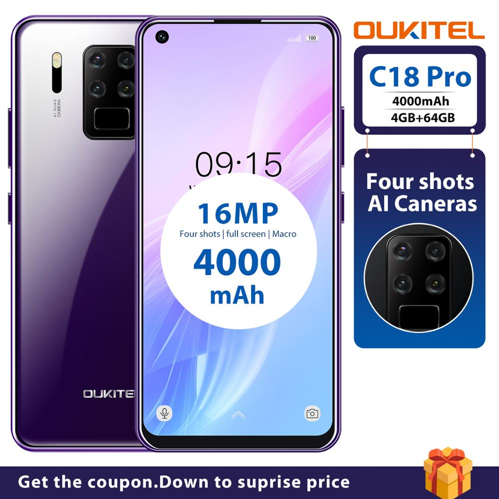 """OUKITEL C18 Pro 4G RAM 64G ROM 4G LTE Smartphone 6.55""""HD Android 9.0 MTK6757 Octa Core 16MP 4 Cameras 4000mAh 5V2A Mobile Phone"""
