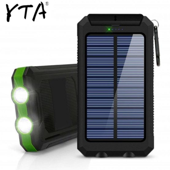 2020 30000mAh Solar Power Bank Dual USB powerbank Waterproof Battery External Portable Charging with LED Light 2USB powerbank