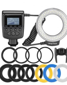 RF-550D 48pcs Macro LED Ring Flash Bundle with 8 Adapter Ring for Canon Nikon Pentax Olympus Panasonic DSLR Camera Flash V HD130