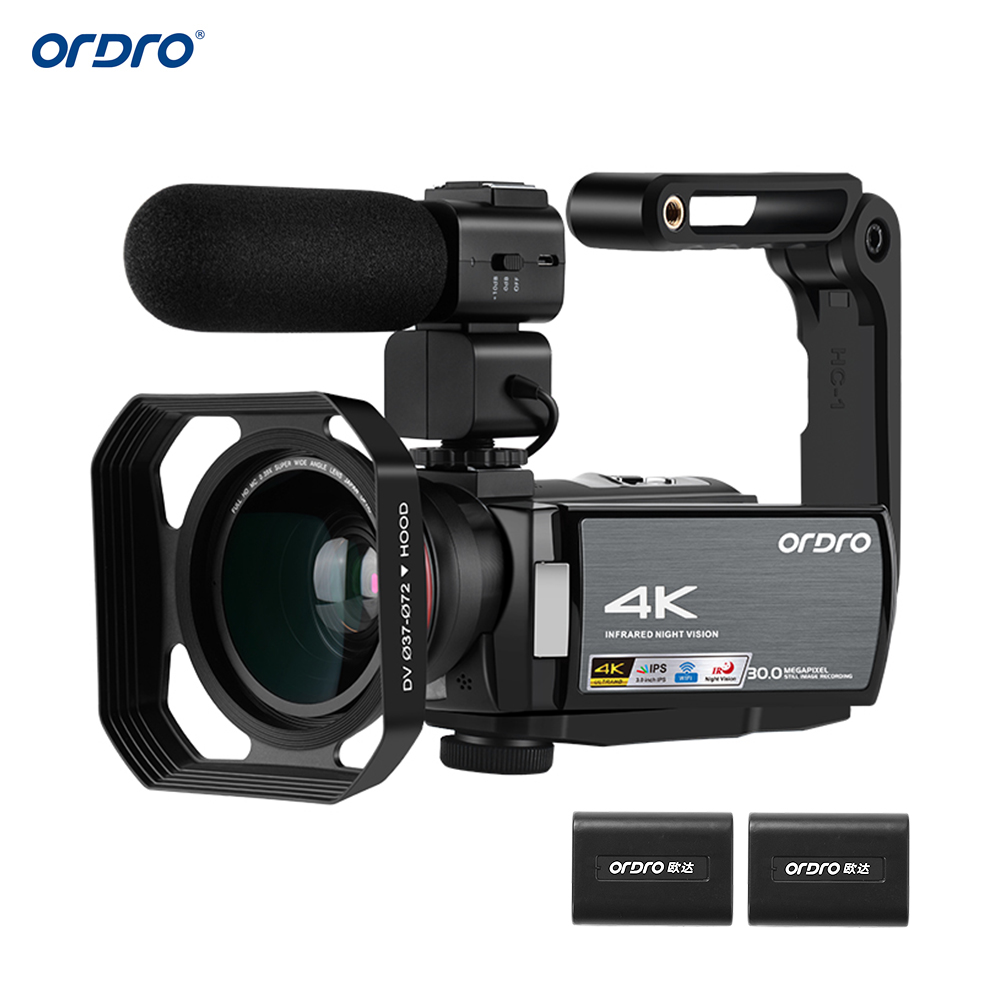 """ORDRO Video Camera 4K WiFi Digital Camcorder DV 30MP 16X 3""""IPS Touchscreen 0.39X Wide Angle Lens+Mic+Len Hood+Holder Free by DHK"""