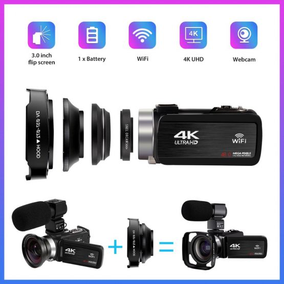 Video Camera 4K 48MP Touch Screen WiFi Live Streaming For Youbute Built-in Fill Light 16X Video Digital Camcorder With Hood