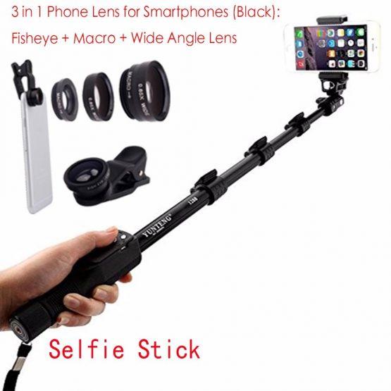 Bluetooth Extendable Selfie Stick Telescopic Monopod Fisheye Macro Wide Angle Phone Lens for XiaoMi Redmi 2A Note 5 4X 4 3