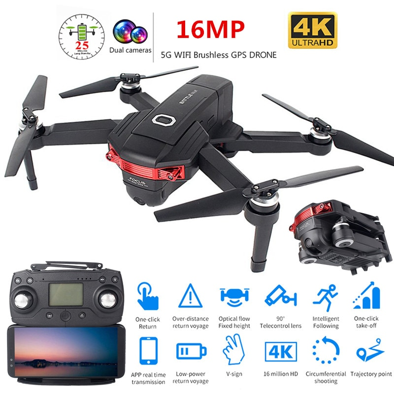 New Foldable Profissional Brushless Drone with Dual Camera 4K HD 5G GPS WiFi FPV Wide Angle RC Quadcopter Helicopter Toy