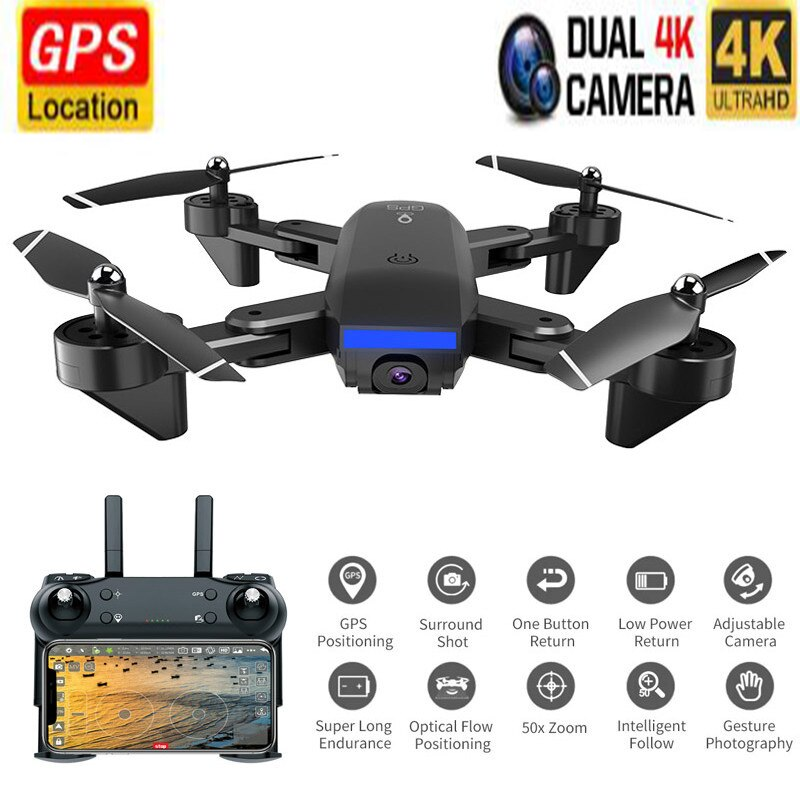 Profession Double GPS Drone with 4K 1080P HD Dual Camera FPV Wifi RC Quadcopter Optical Flow Foldable Mini Drone