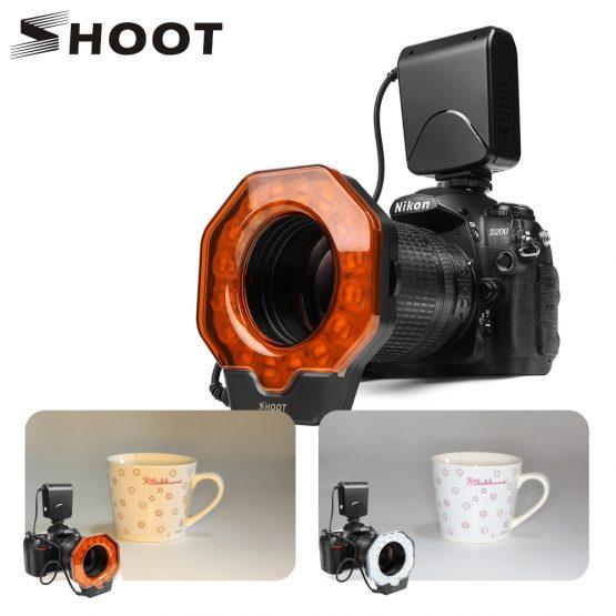 SHOOT for Digtal Camera Led Macro Ring Flash Light for Canon 1300D 6D Nikon D5300 D3400 D7200 D750 Olympus e420 Pentax K50 Dslr