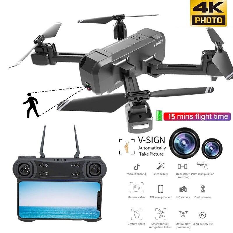 Best WIFI FPV RC Foldable Drone 4K Camera Ultra HD Dual Camera Drone Headless Mode One-Return Landing Quadcopter Kids Gifts