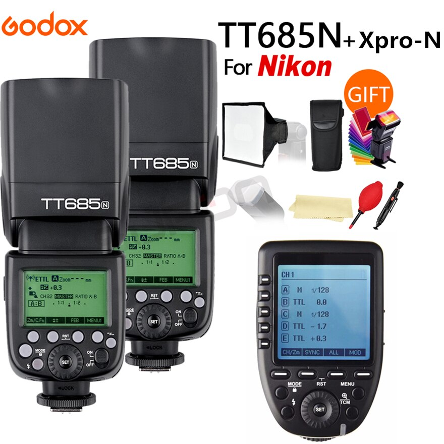 2X Godox TT685N 2.4G Wireless HSS 1/8000s i-TTL Speedlite Flash for Nikon DSLR Cameras + XPRO-N + 15*17cm softbox+ Color filter