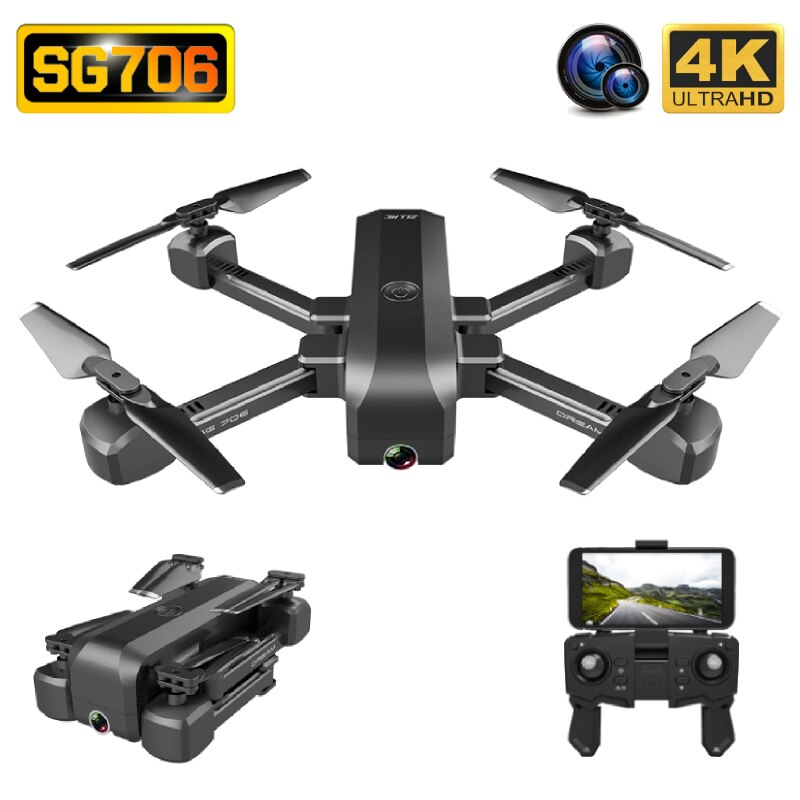 SG706 Drone 4K HD Wide Angle Dual Camera WIFI FPV Foldable Optical Flow Selfie Drones Professional 15Min Follow Me RC Quadcopter