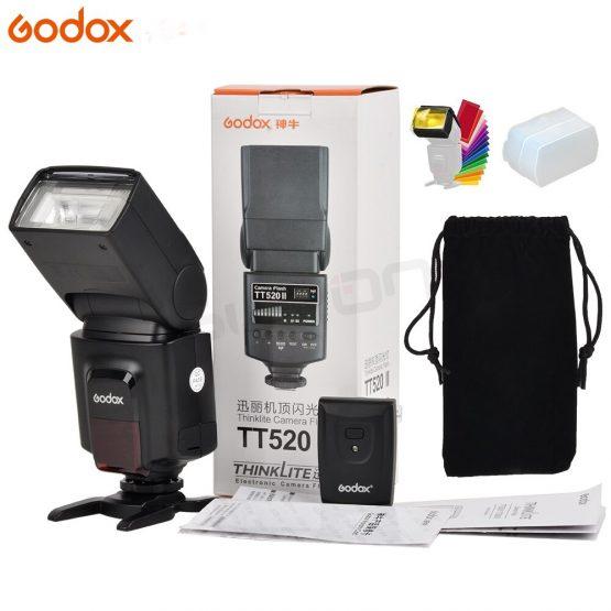 Godox TT520 II Flash TT520II with Build-in 433MHz Wireless Signal +Color Filter Kit for Canon Nikon Pentax Olympus DSLR Cameras
