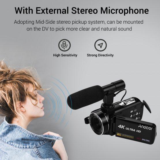 Andoer 4K Ultra HD Handheld DV Professional Digital Video Camera CMOS Sensor Camcorder 3.0 Inch IPS Monitor Burst Shooting