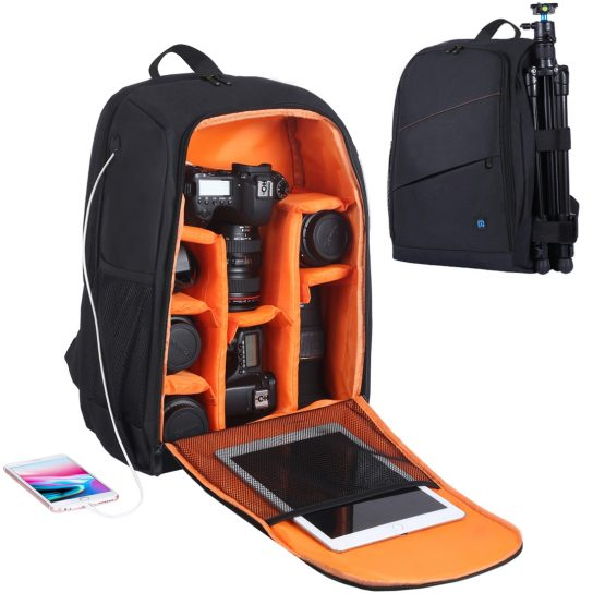 Camera Backpack Waterproof Shockproof Bag with Rain Cover for DSLR SLR Cameras Lenses Laptop Tablet Photography Accessories