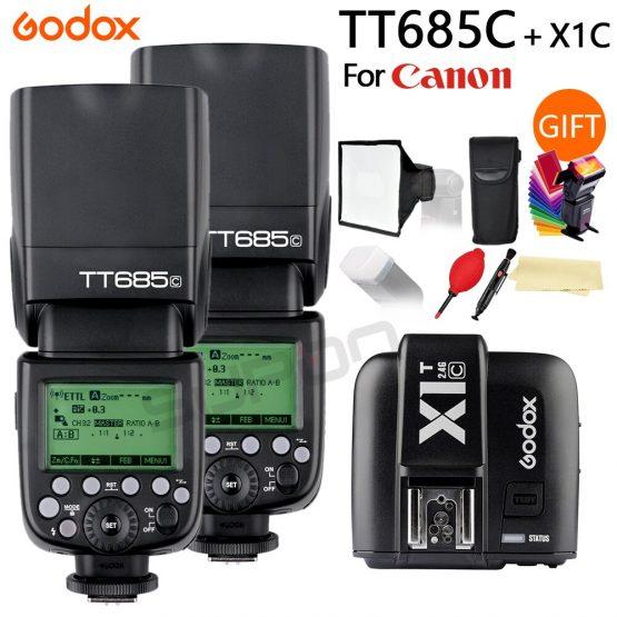 2x Godox TT685 TT685C 2.4G Wireless TTL High-speed sync 1/8000s GN60 Flash Speedlite + X1T-C Transmitter for Canon DSLR Camera