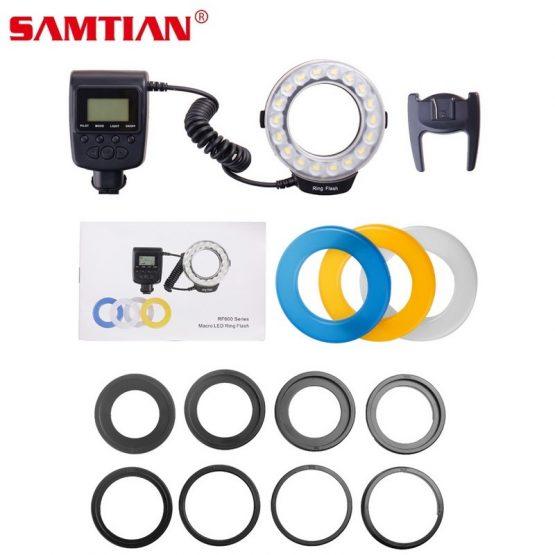 SAMTIAN RF-600D Led Macro Flash LED Ring Speedlight For Canon Nikon Olympus Sony DSLR Cameras