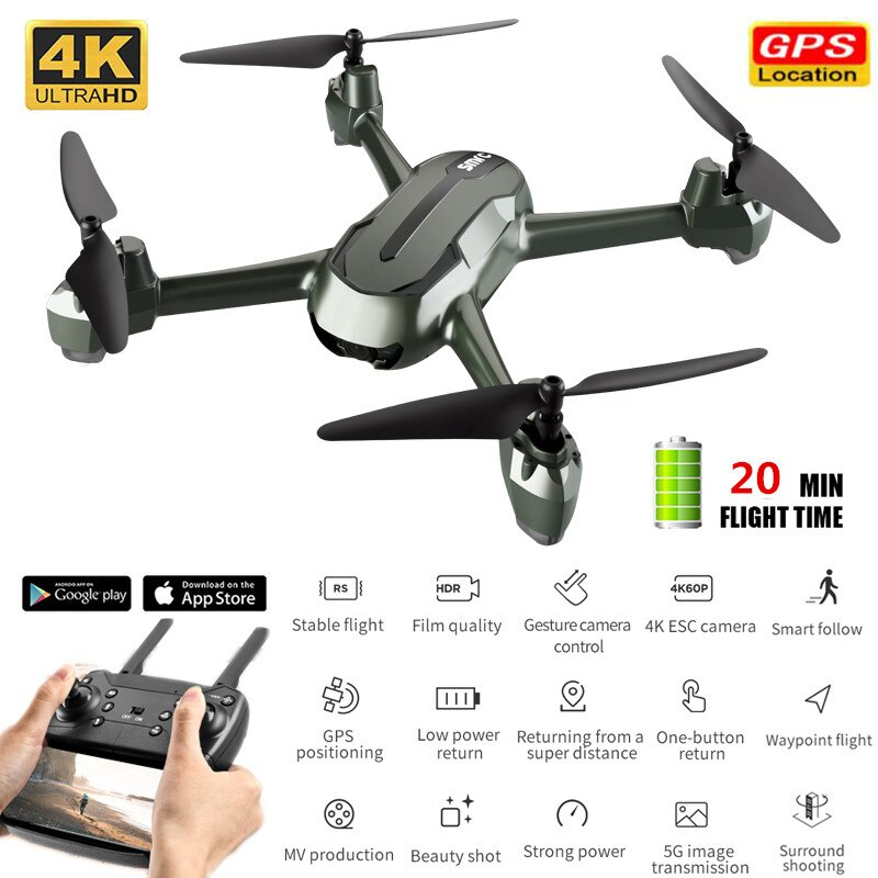 New GPS WiFi FPV RC Drone With 4K HD Camera Altitude Holding Optical Flow Positioning Wide Angle Live Helicopter Quadrocopter