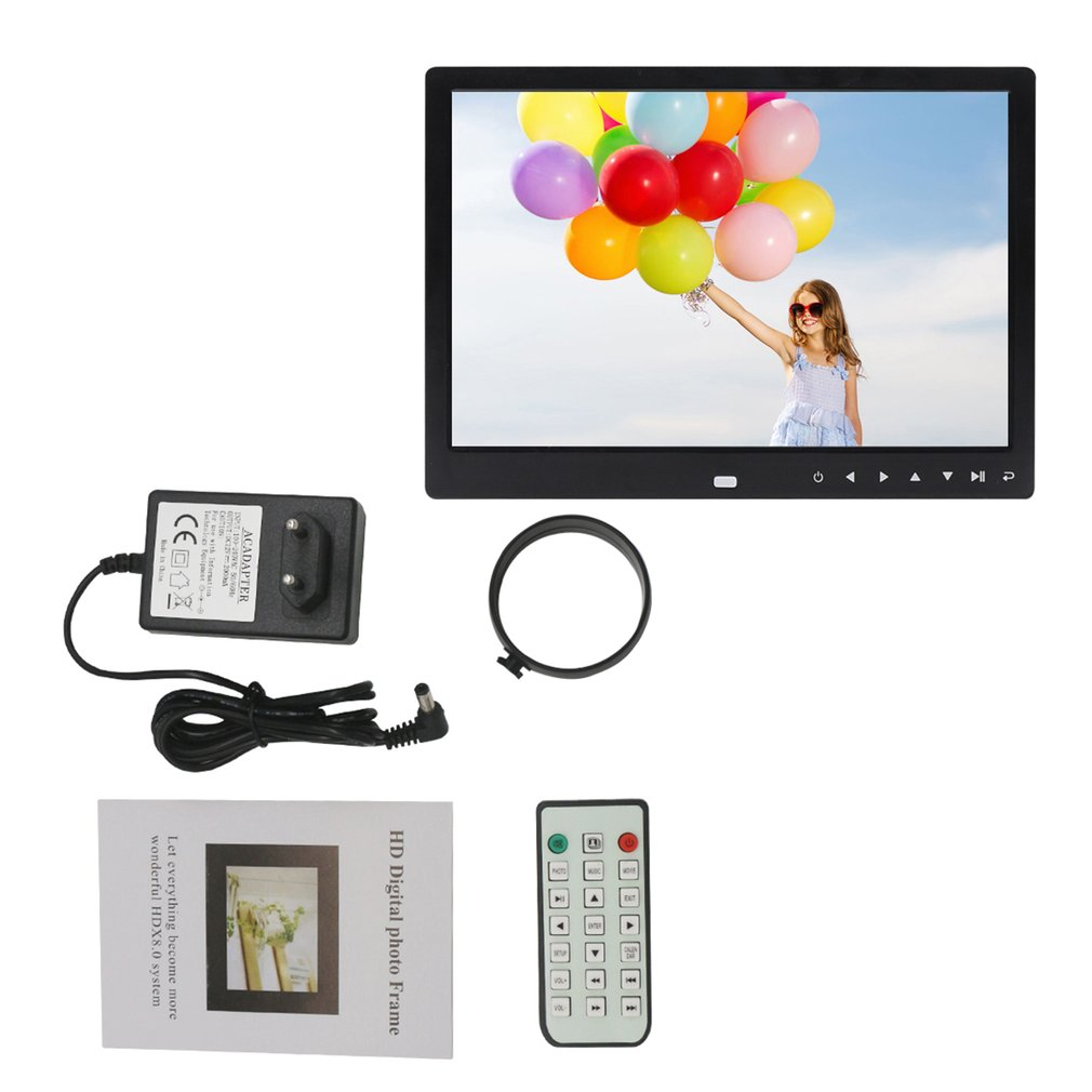 """12"""" HD Digital Photo Frame Picture Mult-Media Player Electronic Picture Frame Calendar Remote Control Alarm Clock For Gift"""