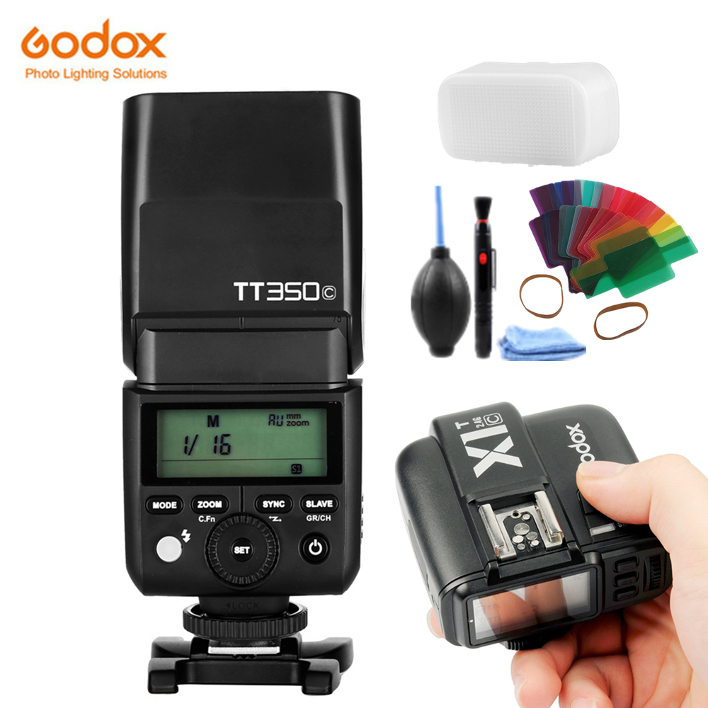 GODOX TT350C Camera Flash 2.4G Wireless TTL HSS GN36 Flash Speedlite Pocket lights + X1T-C Transmitter For Canon DSLR Camera