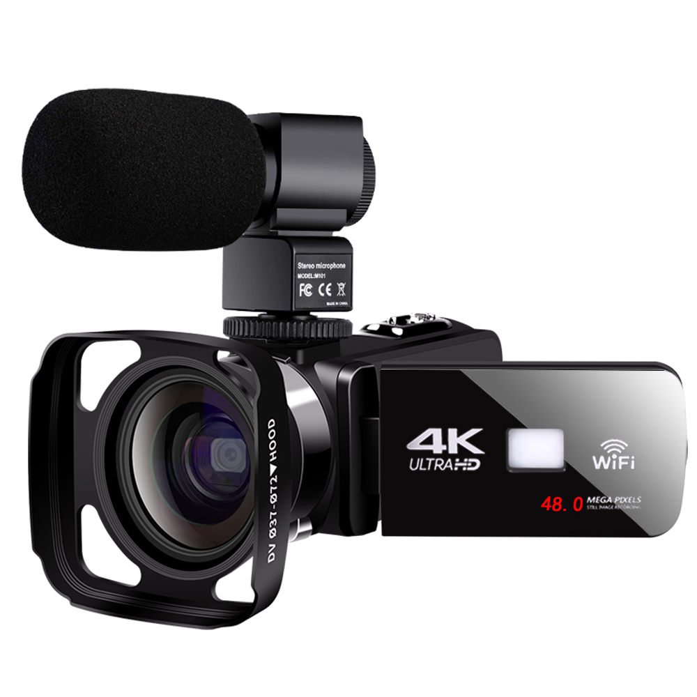 Real 4K Video Camera with Lens Hood WiFi Night Vision 3.0 Inch LCD Touch Screen Digital Camcorder Time-lapse Photography