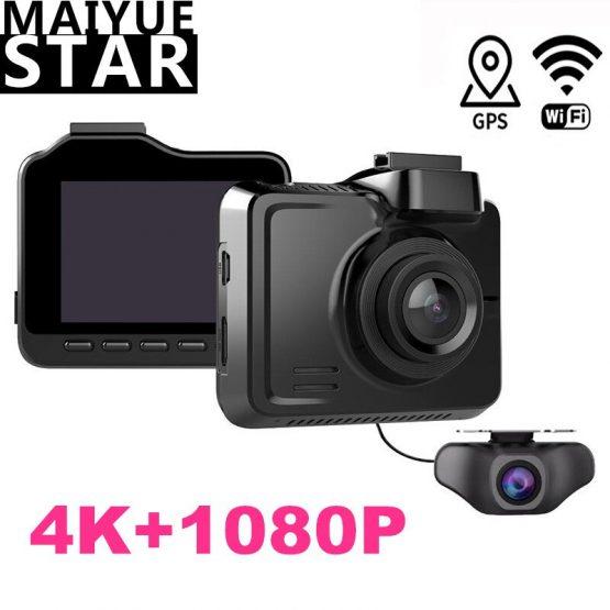 Maiyue star Full HD 1080P Car DVR True 4K 3840 * 2160p 30fps Camera Built-in WIFI GPS Cam Rear Camera Multifunction Recorder