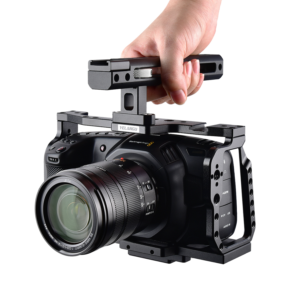 Yelangu C9 Camera Rig Cage for BMPCC 4K 6K Blackmagic Design Pocket Cinema Black Magic Camera with Quick Plate and Top Handle