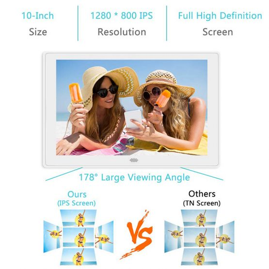 10inch Digital Photo Frame 1280x800HD High Resolution Display IPS LCD Panel Support 128G SD Card Video/Photo/Calendar/Time/Music