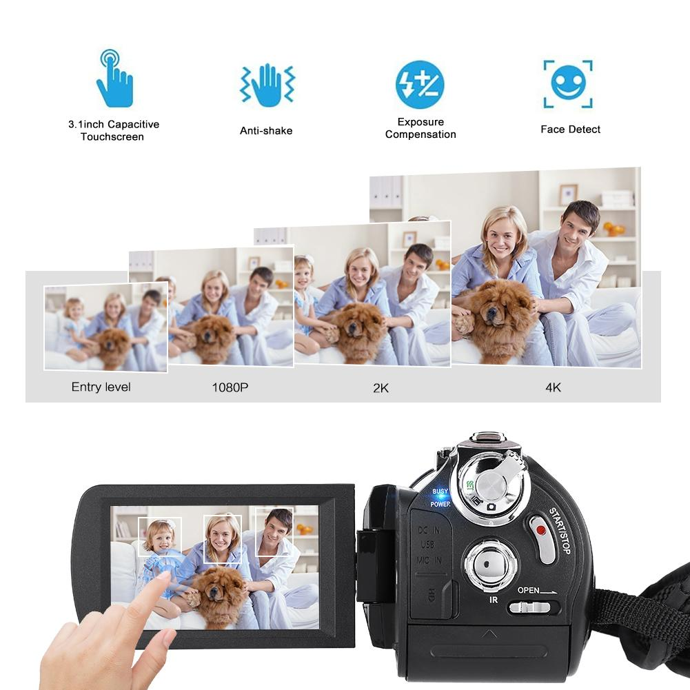 Digital Camera AC3-IPS 4K UHD WiFi 30X Zoom 3.1'' Touch Screen DV Camera Camcorder with wide-angle lens hood microphone