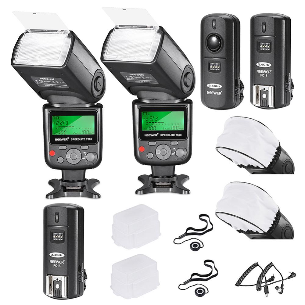 Neewer 750II i-TTL Flash Speedlite Kit for Nikon DSLR Camera,Includes: 2 Neewer 750II Flash+2.4G Wireless Trigger +N1/N3 Cables