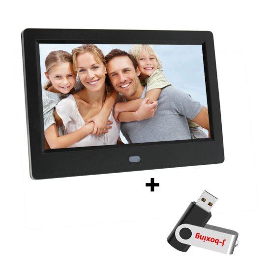 7 Inch HD Digital Photo Frame 1024x600 HD Ultra-Thin Electronic Photo Album LCD Photo Frame with 32GB USB Flash Drive Black