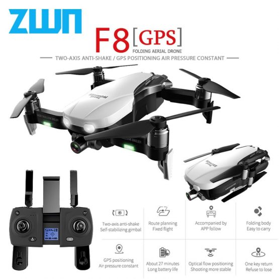 ZWN F8 GPS RC Drone with Two-axis anti-shake Self-stabilizing gimbal Dual Camera Gesture Control 5G Wifi FPV Brushless Motor