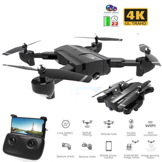 Best Foldable Professional Drone with Dual Camera 720P 4K Selfie WiFi FPV Wide Angle Optical Flow RC Quadcopter Helicopter