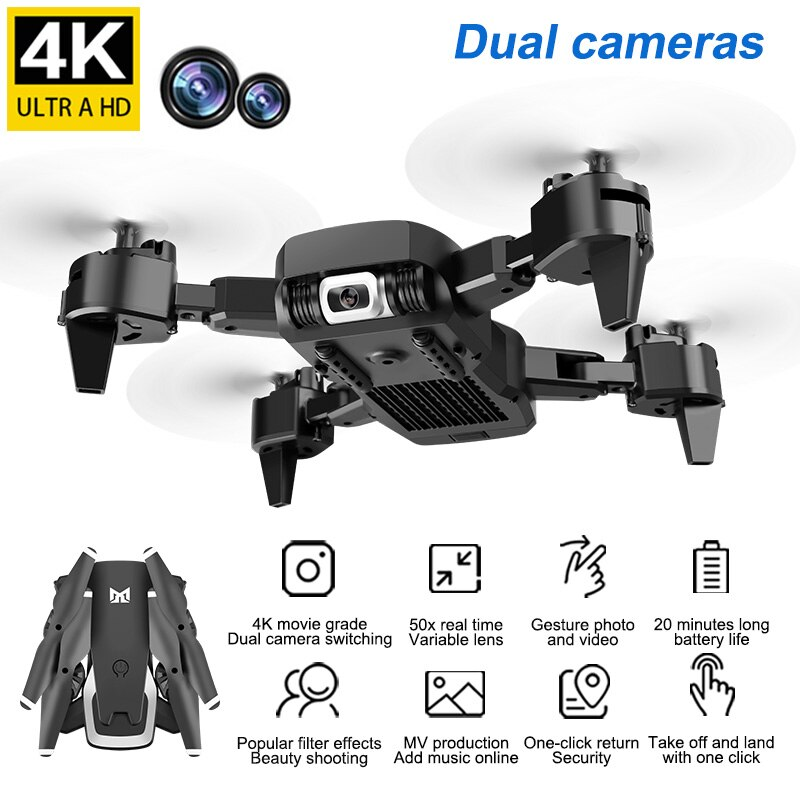 Foldable Professional Drone with Camera 4K HD WiFi FPV Video Live Wide Angle Optical Flow RC Quadcopter Helicopter Toy
