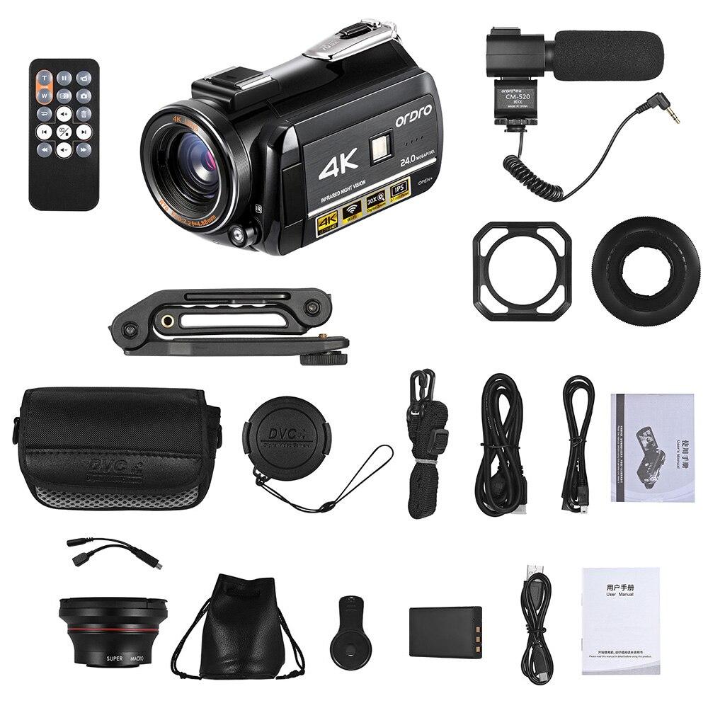 ORDRO AC3 4K WiFi Digital Video Camera Camcorder 24MP 3.1 Inch IPS 0.39X Wide Angle Len+Microphone+Len Hood + Camera Holder